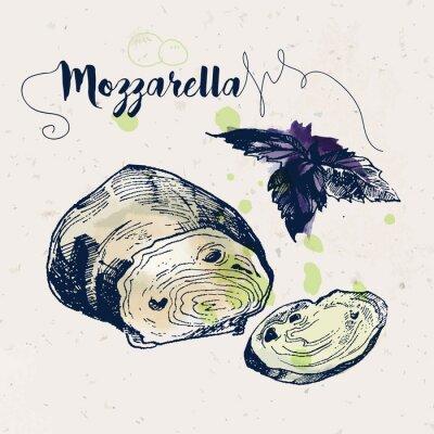Sticker Main, dessiné, mozzarella, fromage, basilic, feuilles