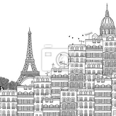 Sticker Main, dessiné, noir, blanc, Illustration, paris