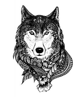 Sticker Main, dessiné, résumé, loup, vecteur, Illustration