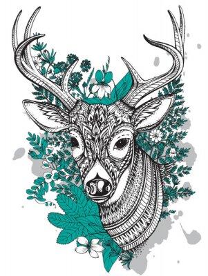 Sticker Main, dessiné, vecteur, cornu, cerf, élevé, détails, ornement