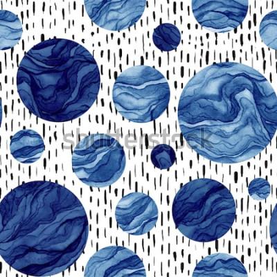 Sticker Main dessinée modèle sans couture d'aquarelle des cercles bleu profond. Texture marbre