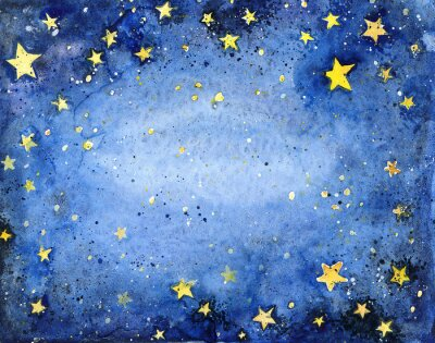 Sticker Main, peint, aquarelle, bleu, ciel, clair, étoiles