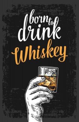 Sticker Main, tenue, verre, whisky, glace, cubes Vendange, vecteur, gravure, Illustration, étiquette, affiche, invitation ...