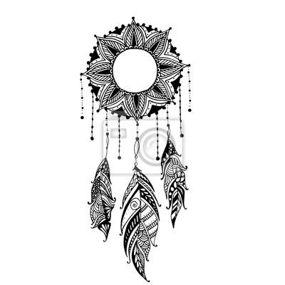 Main Tire Lune Soleil Mandala Dreamcatcher Plumes Ethnique
