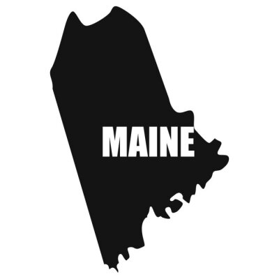 Maine map in black on a white background