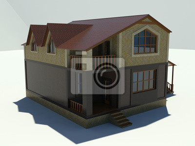 Sticker: Maison moderne avec toit rouge sur un fond blanc.
