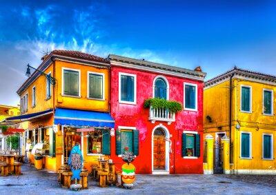 Sticker maisons colorées dans un brut à Burano près de Venise Italie Islande. HDR