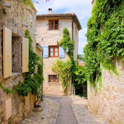Sticker Maisons en pierre jolie dans un pittoresque village en Provence, France