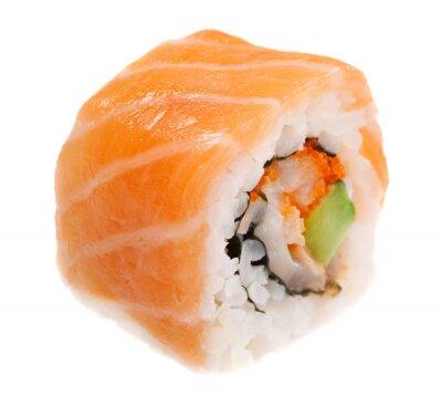 Sticker Maki sushi isolé sur fond blanc