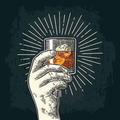 Sticker Mâle main tenant le whisky de verre avec rayon