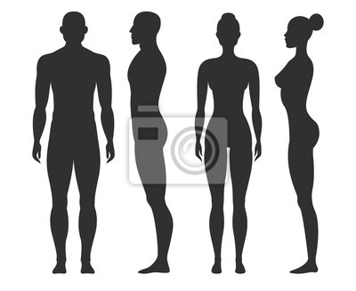 Sticker Man and woman silhouettes. Human body outline shapes in side and front view. Standing male and female figures vector isolated set
