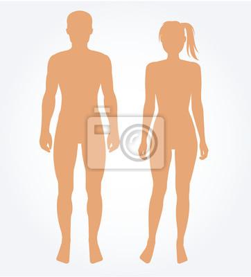 Sticker Man et le modèle de corps de la femme. Vector illustration