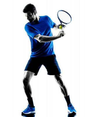 Sticker Man joueur jeu de tennis silhouette