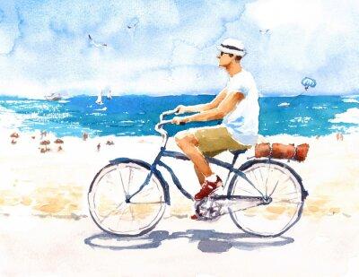 Sticker Man On Bike Summer Beach Scene Aquarelle Illustration Peint à la main