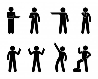 Sticker Man shows his finger, gesture indicates the direction, icon man, stick figure human silhouette, set of people various gestures with his hands