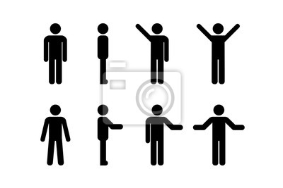 Sticker Man standing set, stick figure human. Vector illustration, pictogram of different human poses on white