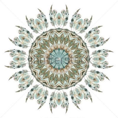 Sticker Mandala abstraite aquarelle plumes ethniques. Point ajouré avec des plumes ornées avec des éléments géométriques isolés sur fond blanc. Illustration peinte à la main pour boho, tribal design