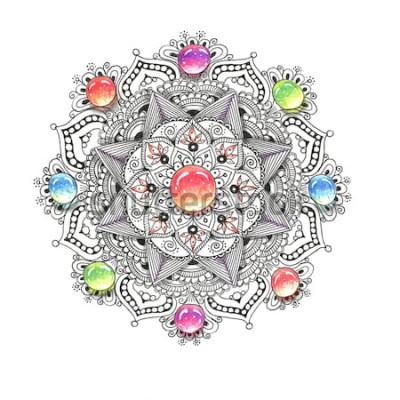 Sticker Mandala aquarelle coloré avec des pierres précieuses. Beau motif rond vintage. Abstrait dessiné à la main. Invitation, impression de t-shirt, carte de mariage. Décor pour votre conception de style ori