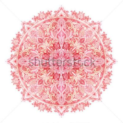 Sticker Mandala d'aquarelle. Modèle dessiné à la main dans le style oriental. Motif de dentelle ornementale pour les styles tribal et boho. Dentelle traditionnelle isolée sur fond blanc.