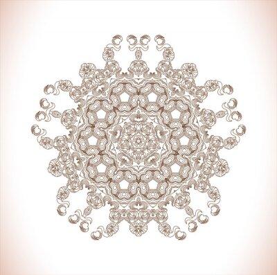 Sticker Mandala. Modèle rond. Résumé modèle d'élégance. Dessiné à la main