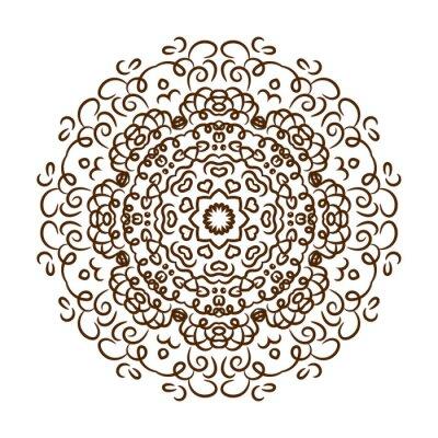 Sticker Mandala tiré par main de tatouage de henné. Vecteur dentelle ornement.
