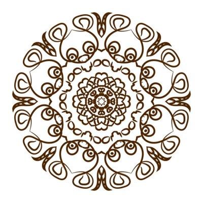 Sticker Mandala tiré par main de tatouage de henné. Vecteur ornement de dentelle.