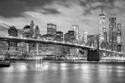 Sticker Manhattan et pont de Brooklyn noir et blanc, New York