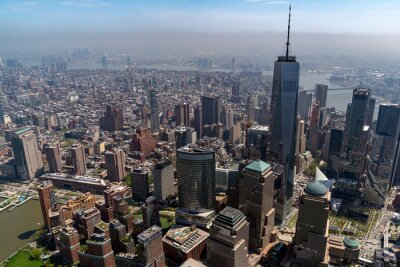 manhattan new york aerial view from helicopter