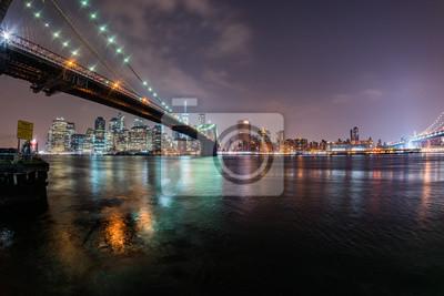 Manhattan, nuit, Cityscape, brooklyn