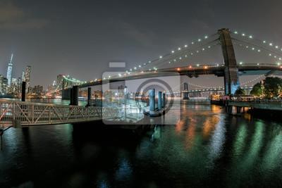 Manhattan, nuit, vue, brooklyn