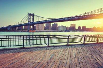 Manhattan, pont, au-dessus, est, rivière, Coucher soleil