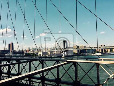Manhattan, pont, Brooklyn, pont, vue, vendange, Style