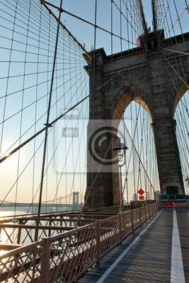 Manhattan, pont, depuis, Brooklyn, pont, Coucher soleil