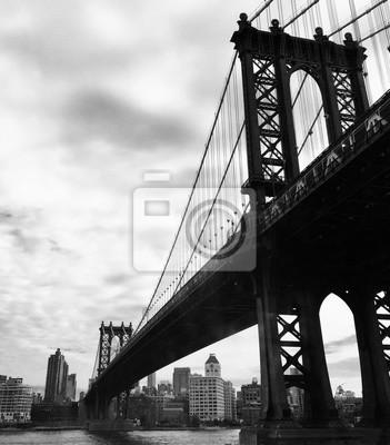 Manhattan, pont, noir, blanc, couleur, Style
