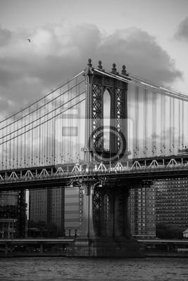 Manhattan, pont, nuageux, ciel, noir, blanc ...