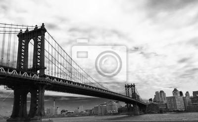 Manhattan, pont, nuageux, ciel, noir, blanc, image, style