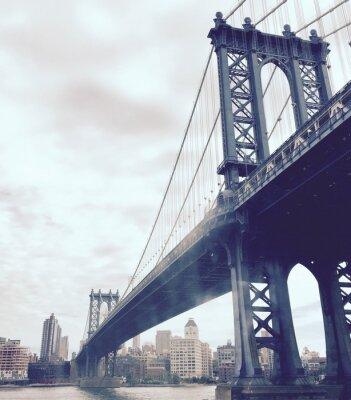 Sticker Manhattan, pont, rivière, vendange, style, nouveau, York
