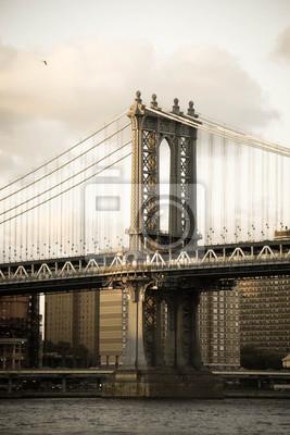 Manhattan, pont, rivière, vieux, vendange ...
