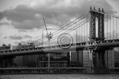 Manhattan, pont, rivière, ville, noir, blanc ...