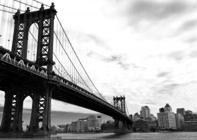 Manhattan, pont, ville, noir, blanc, Style