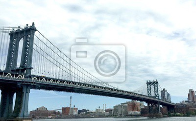 Manhattan, pont, ville, nuageux, ciel, nouveau, York