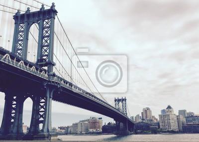 Manhattan, pont, ville, vendange, Style, nouveau, York