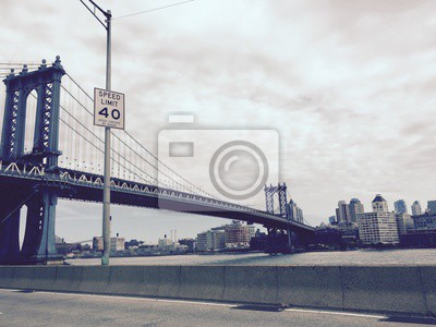 Manhattan, pont, vitesse, limite, signe, vendange, style