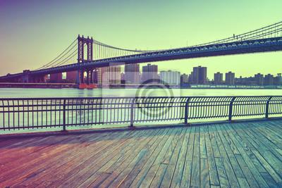 Manhattan, Suspension, pont, travers, Est, rivière