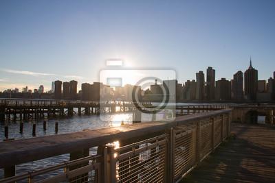Manhattan, ville, coucher soleil, jetée, Gantry, place, état, parc, rivière