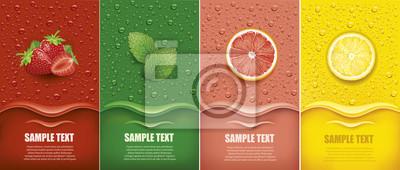 Sticker many fresh juice drops background with strawberry, mint, lemon, grapefrui