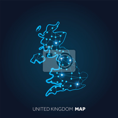 Sticker Map of United Kingdom made with connected lines and glowing dots.