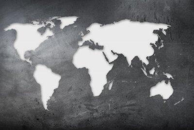 Sticker Mappa mondiale su lavagna