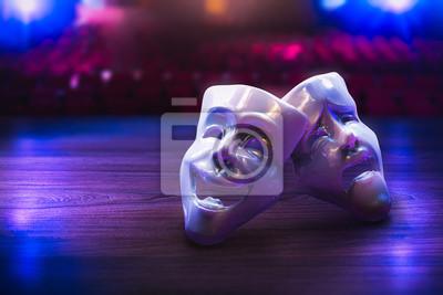 Sticker Masques de théâtre sur scène / Rendu 3D, Technique mixte.
