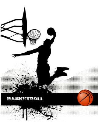 match de basket sur le fond grunge